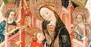 Enthroned virgin and child surrounded by angels with musical instruments