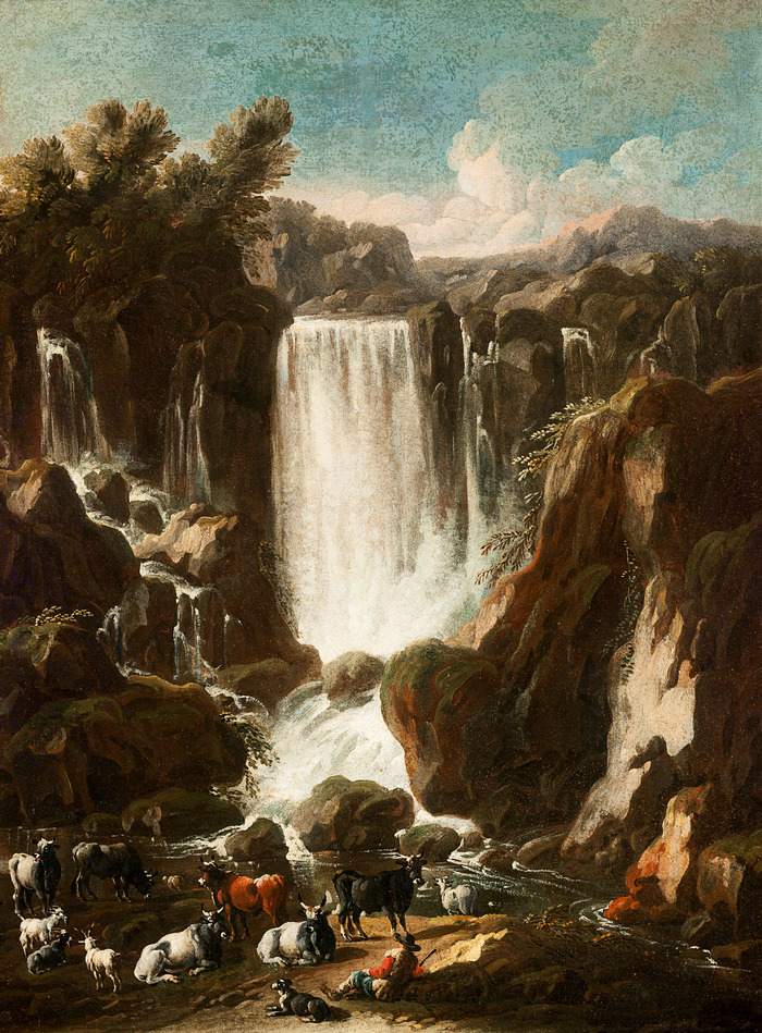 Tivoli waterfalls with a herd